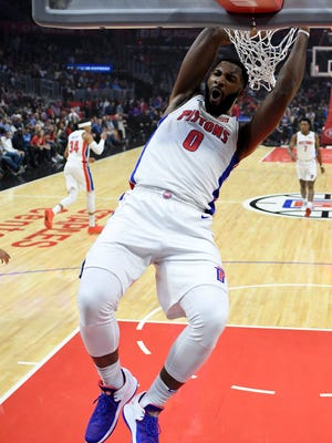Andre Drummond dunks during the first half of the Pistons' 95-87 win over the Clippers, Saturday, Oct. 28, 2017, in Los Angeles.