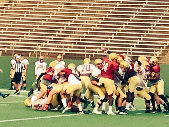 Midwestern State worked on situational football, including