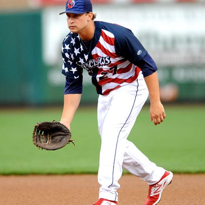 Kyle Martin of the Lakewood BlueClaws plays the infield during a game earlier this season. Martin contributed a two-run homer Wednesday in the Claws' loss to Greensboro.