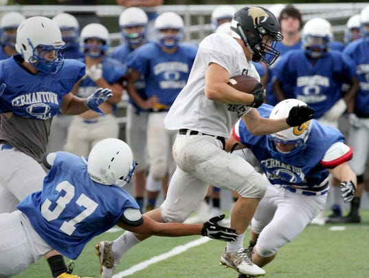 Franklin Football scrimmages at Pewaukee