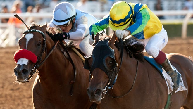 Rich Tapestry, right, the first horse from Hong Kong to compete in the Breeders' Cup, shown winning the Santa Anita Sprint Championship.