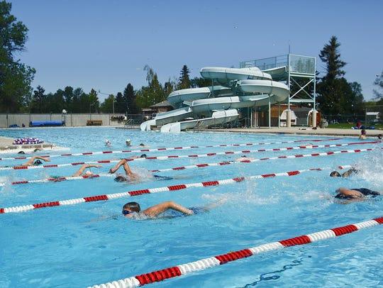 Members of the Lewistown Sea Lions swim team practice