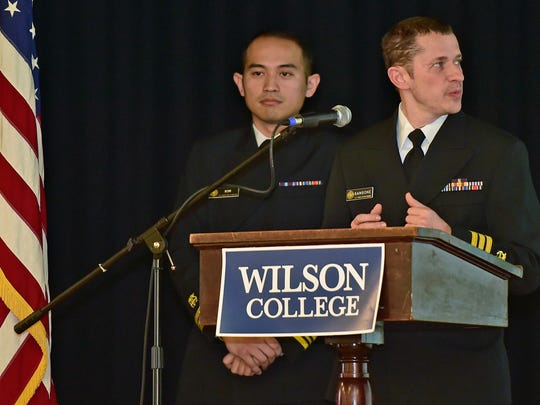 Andrew Kim, left, and Vincent Sansone, of Commissioned Corps Officers of the U.S. Public Health Service, are guest speakers Thursday, Dec. 10, 2015  during the annual Chambersburg Chamber of Commerce Business Breakfast at Laird Hall, Wilson College.