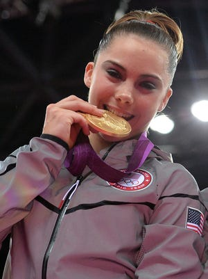 McKayla Maroney celebrates winning a gold medal at the London Olympics in 2012.