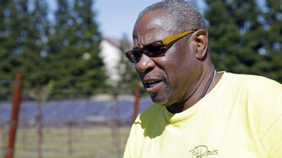 Dusty Baker stands in his vineyard while talking about his future in his home in Granite Bay, Calif.