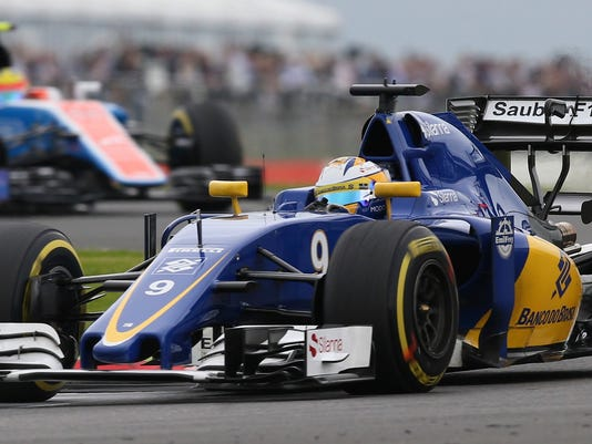 Sauber driver Marcus Ericsson of Sweden steers his car during the third free practice at the Silverstone racetrack, Silverstone, England, Saturday, July 9, 2016. The British Formula One Grand Prix will be held on Sunday July 10. (AP Photo/Luca Bruno)