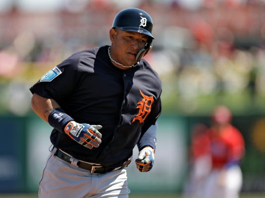Detroit Tigers' Miguel Cabrera runs around the bases after his home run off Philadelphia Phillies starting pitcher Jake Arrieta during the first inning of a spring training baseball game Thursday, March 22, 2018, in Clearwater, Fla. (AP Photo/Chris O'Meara)