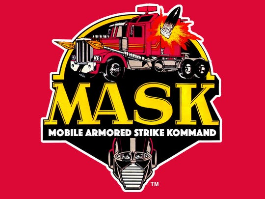 "One of the ""M.A.S.K."" throwbacks: It's old logo from"