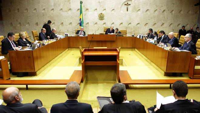 Brazil's Supreme Court discusses impeachment proceedings against President Dilma Rousseff, in Brasilia, on April 14, 2016.