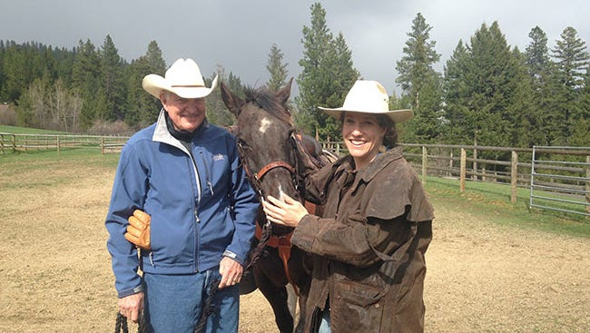 Craig Barrett, former CEO of Intel Corp., left, and an investor in Whole Trees, with Amelia Baxter, co-founder. of the Madison company, at Triple Creek Ranch in Montana.