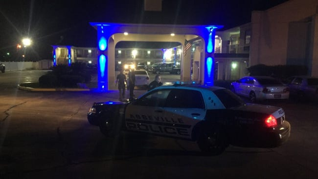Police respond to reports of a shooting at a Days Inn hotel in Abbeville early Friday morning.