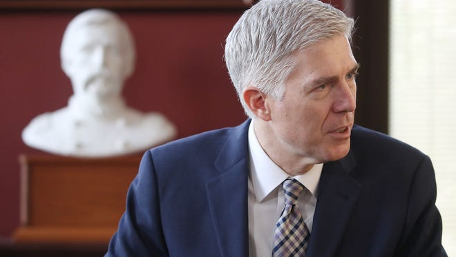 Supreme Court nominee Judge Neil Gorsuch meets with Sen. Angus King (I-ME) in his office on Capitol Hill March 1, 2017 in Washington, DC. President Donald Trump nominated Judge Gorsuch to the Supreme Court to fill the seat that was left vacant with the death of Associate Justice Antonin Scalia in February 2016.