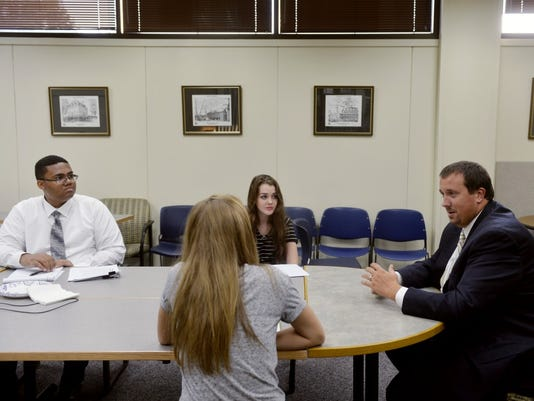 (Chris Dunn - Daily Record/Sunday News) State Rep. Seth Grove, R-Dover Township, speaks with members of the York Daily Record's Teen Takeover staff Thursday, Sept. 3, 2015, in the newspaper's conference room.