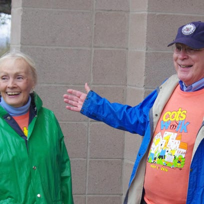 Sen. Patrick Leahy and his wife, Marcelle, chat before the start of the 27th Annual COTS Walk, a 3-mile trek around downtown Burlington starting from Battery Park.