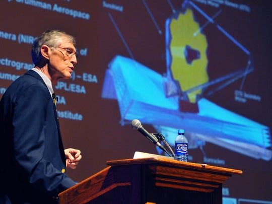 Nobel Prize winner John Mather discusses the James Webb Space Telescope at Florida Institute of Technology in September 2016.