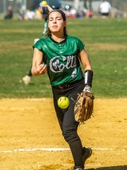 Kinnelon starting pitcher Alexa Saccomanno (9) hurls