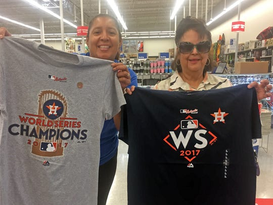 Astros fans Oneyna Barron and Marti Benavvides were