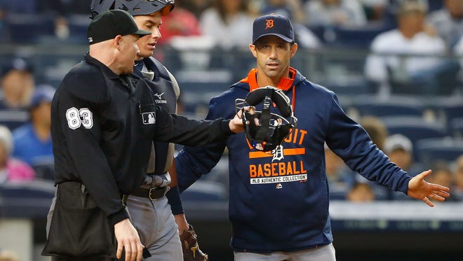 Manager Brad Ausmus of the Detroit Tigers comes out from the dugout to argue with umpire Mike Estabrook against the New York Yankees on June 20, 2015, in New York.