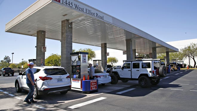 Regular gasoline took a 6-cent jump overnight  at the Costco on Elliot Road in Tempe on March 25, 2016.