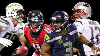 Clockwise from upper left: Chargers DE Joey Bosa, Patriots QB Tom Brady, Seahawks QB Russell Wilson and Falcons WR Julio Jones.