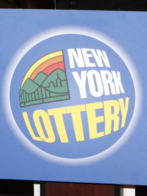 New York State Lottery sign.