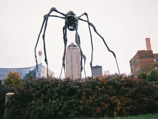 Roger Wood's photograph of Louise Bourgeois' spider at the Pappajohn Sculpture Park is part of the current art show at Drake University.