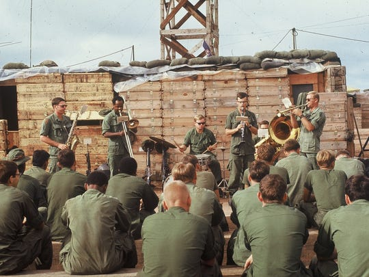 An Army band gets its groove on during the Vietnam War.