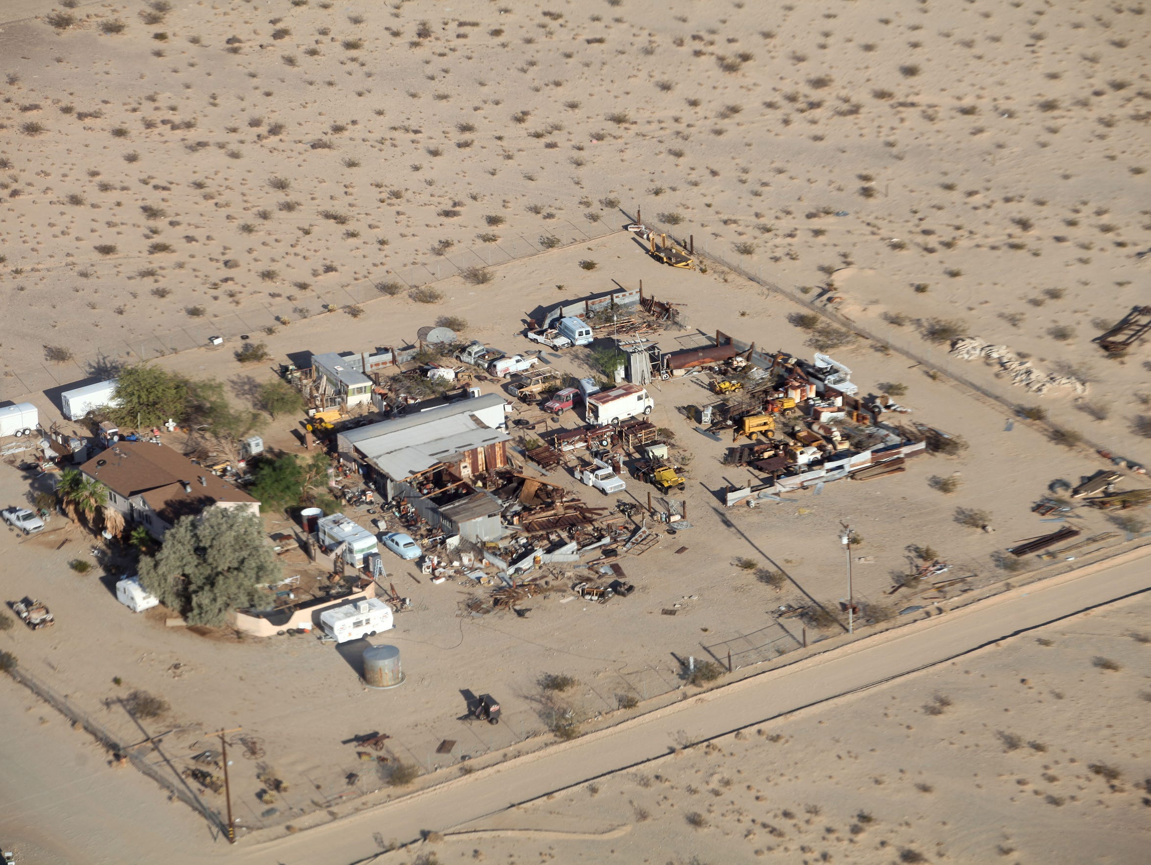 An aerial view of a Wonder Valley property.