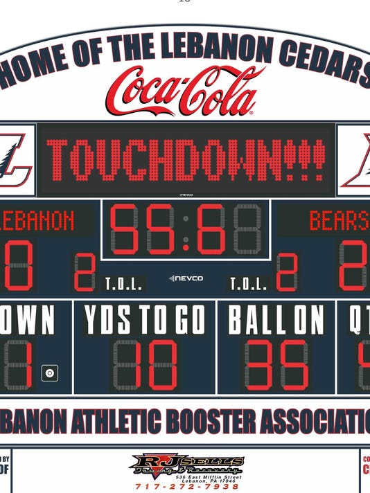 A rendering of the new scoreboard being installed at Lebanon Alumni Stadium.