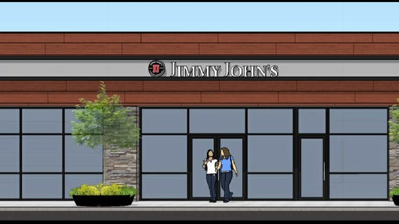 This rendering shows a retail complex coming to Mount  Laurel that will feature a Jimmy John's and other restaurants.