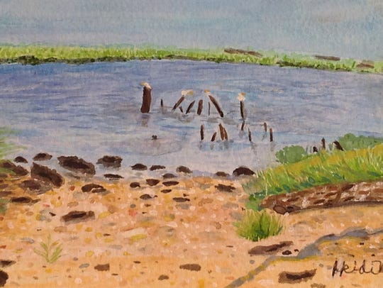 """""""Calmness Along the Cohansey River,"""" a watercolor by"""