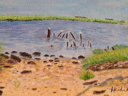 """Calmness Along the Cohansey River,"" a watercolor by"