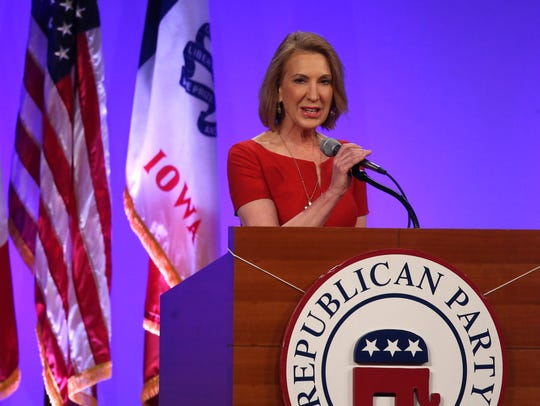 Carly Fiorina speaks on Saturday, May 16, 2015, during