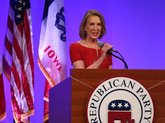 Carly Fiorina speaks on Saturday, May 16, 2015, during the 2015 Lincoln Dinner in Des Moines, Iowa.