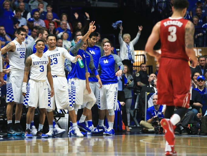 The Kentucky bench was in a good mood early in the