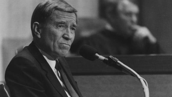 Gov. Evan Mecham at his 1988 impeachment trial