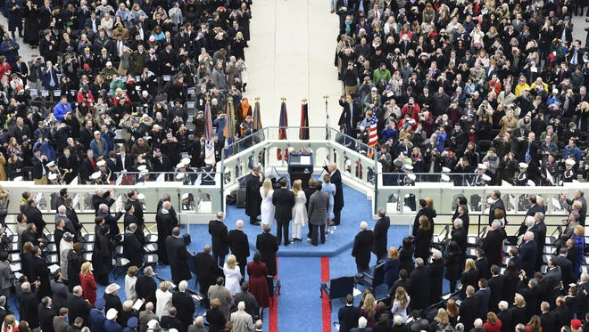 WASHINGTON, DC - JANUARY 20: President-elect Donald Trump is sworn into office during the Inauguration on January 20, 2017 at the U.S. Capitol in Washington, D.C. (Photo by Ricky Carioti/The Washington Post)