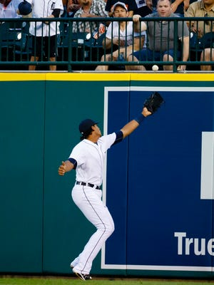 Jul 15, 2016; Detroit, MI, USA; Detroit Tigers rightfielder Steven Moya can't catch the ball hit by Kansas City Royals catcher Salvador Perez in the sixth inning at Comerica Park.