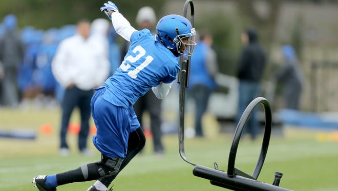 University of Memphis defensive back Marcus Green works on drills during a recent team practice.