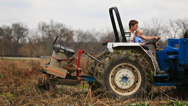 Aboard a tractor, Troy Hillerich and son Louis clear overgrowth from a seven-acre plot of land in preparation for planting next year off Seatonville Road. Floyds Fork creek just behind them was responsible for flooding Hillerich's crops in July, which cost him $70,000 in produce.