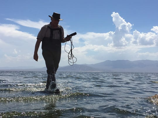Tim Bradley, A UC Irvine biologist, steps out of the water carrying some of his research equipment. Bradley and other experts say the fish in the Salton Sea and the birds that fed on them are wiped out this winter, but there's chance of new life if action is finally taken.