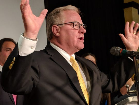 Scott Wagner delivers a speech after he was the declared