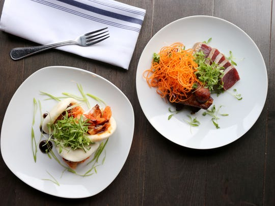 The steamed buns and seared tuna at Clock Tower Grill