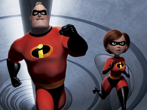 "** FILE ** In this undated animated frame released by Pixar of the studios recent computerized movie, ""The Incredibles,"" shows The Incredibles family: speedy 10-year old Dash, left, shy teenager Violet, second from left, the strong and heroic Mr. Incredible, center, and ultra-flexible Elastigirl as they race to save the day.  ""The Incredibles""  tops the list of nominees for the 32nd annual Annie Awards. (AP Photo/Disney, File)"