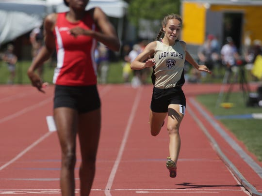River View's Cassidi Bookless runs during the Division II state track 400 prelims Friday at Jesse Owens Memorial Stadium. Bookless broke the River View school record with a time of 58.48 seconds.