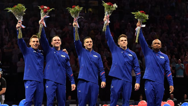 Sam Mikulak, Alex Naddour, Jake Dalton, Chris Brooks and John Orozco celebrate after being selected to the 2016 USA Mens Gymnastics Olympic Team  at Chaifetz Arena in June.