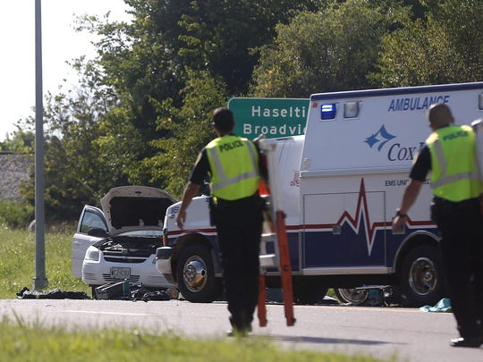Police investigate a accident involving a motorcycle on east Chestnut Expressway on Wednesday, Aug 10, 2016.