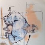 Sen. Ron Calderon appears in federal court in handcuffs. (Sketch: Mona Edwards)