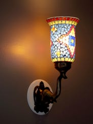 A decorative lamp in the dining room at Indi Q, a new