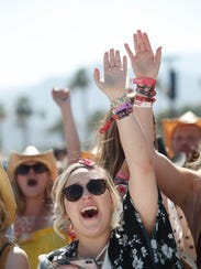 Apr 28, 2018; Indio, CA, USA; Fans of Carly Pearce